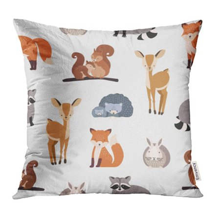 EREHome Different Cute Cartoon Forest Animals on White Squirrel Hedgehog Fox Deer Pillow Case Pillow Cover 18x18 inch Throw Pillow Covers - image 1 of 1