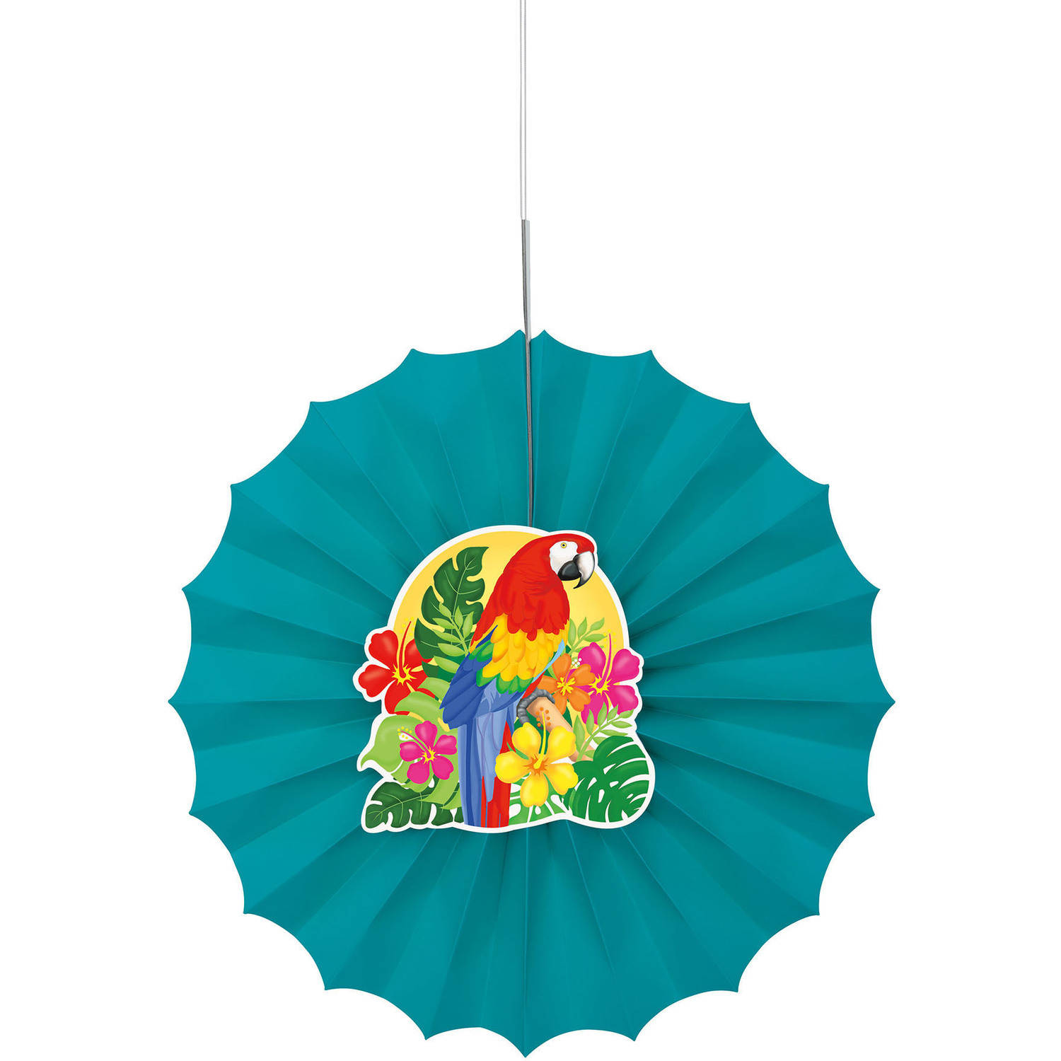 "12"" Tropical Island Luau Tissue Paper Fan Decoration"
