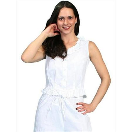scully rangewear women's rangewear ruffled sleeveless top white large
