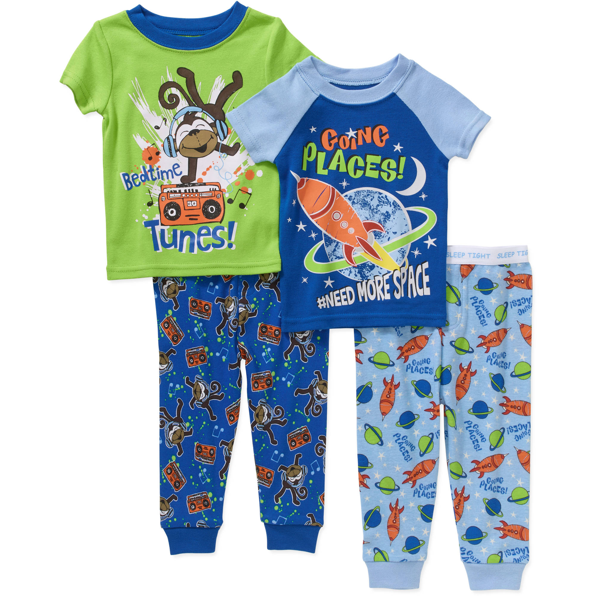 Garanimals Newborn Baby Boy Tight-Fit Cotton Pajamas,4-Piece Set