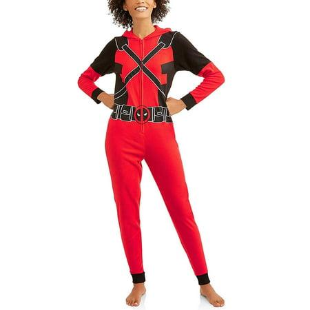 Deadpool Marvel Women's Cozy Fleece Union Suit Hooded Pajamas, Red/Black, XS](Deadpool Suit For Sale)
