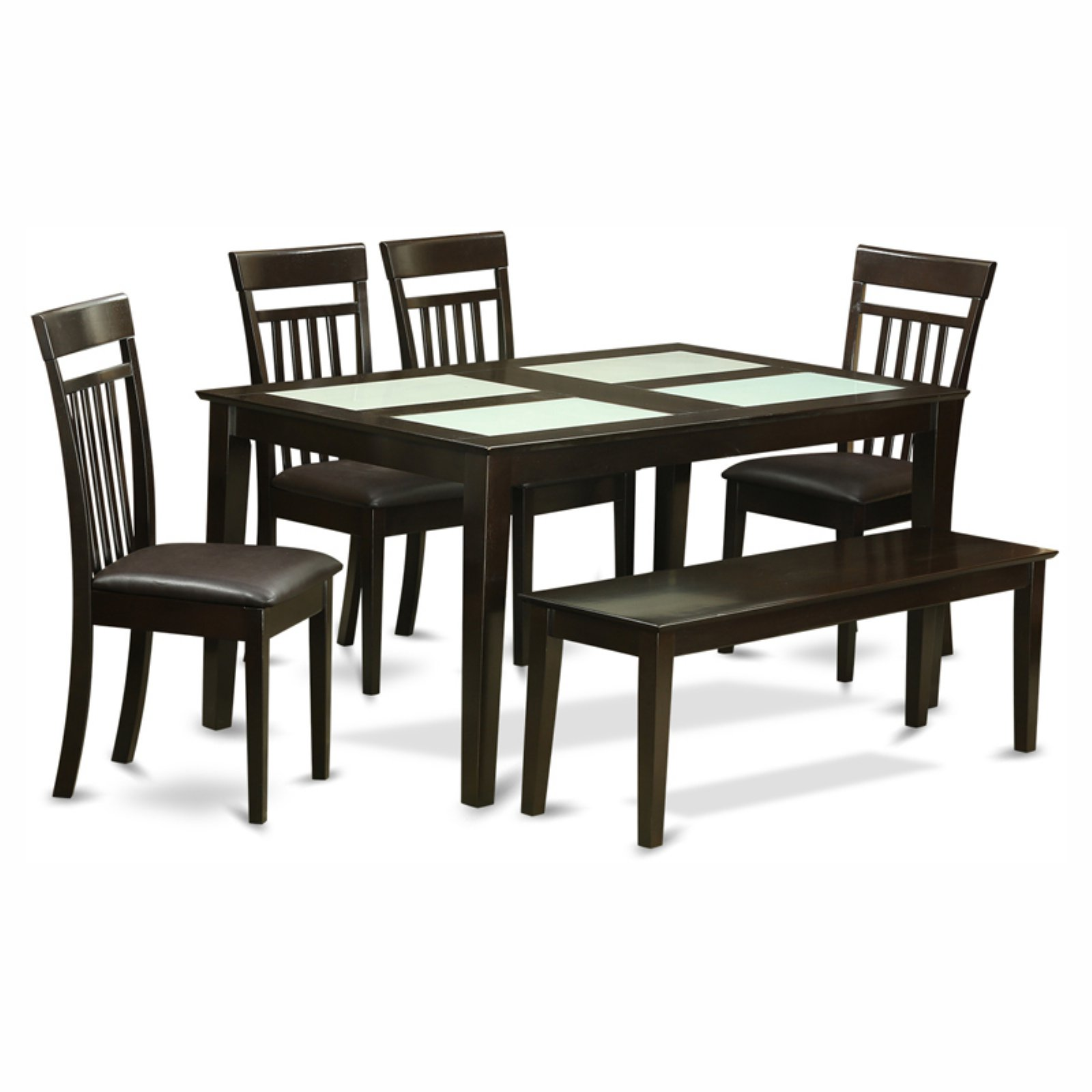East West Furniture Capri 6 Piece Glass Top Rectangular Dining Table Set with Microfiber Seat Chairs