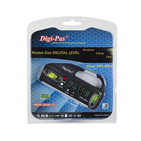 DigiPas DWL80PRO Mini Pocket Size Digital Level, Electronic Angle Gauge, Protractor, 4 inch 0.05 ° accuracy