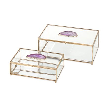(Glass and Agate Boxes - Set of 2)