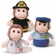 """Gund 4"""" Plush CURIOUS GEORGE SOUND TOY (Policeman, Firefighter, Doctor)"""