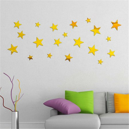 20pcs Removable Star Wall Sticker 3D Mirror Decal Vinyl Acrylic Home Decor Gold