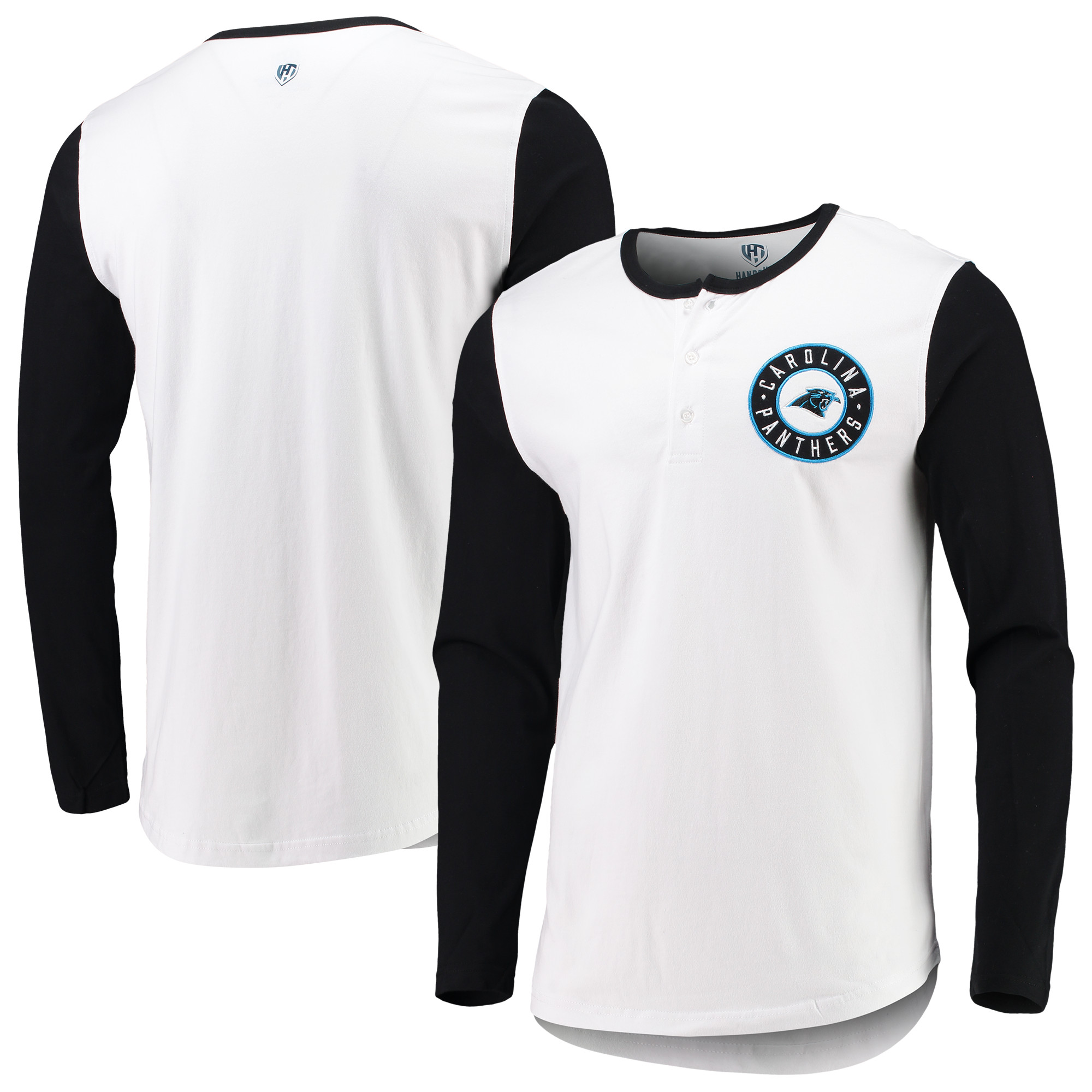 Carolina Panthers G-III Sports by Carl Banks Tradition Henley Long Sleeve T-Shirt - White/Black