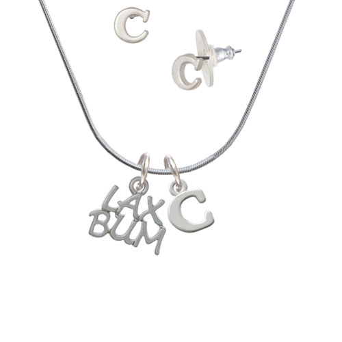 LAX BUM - C Initial Charm Necklace and Stud Earrings Jewelry Set