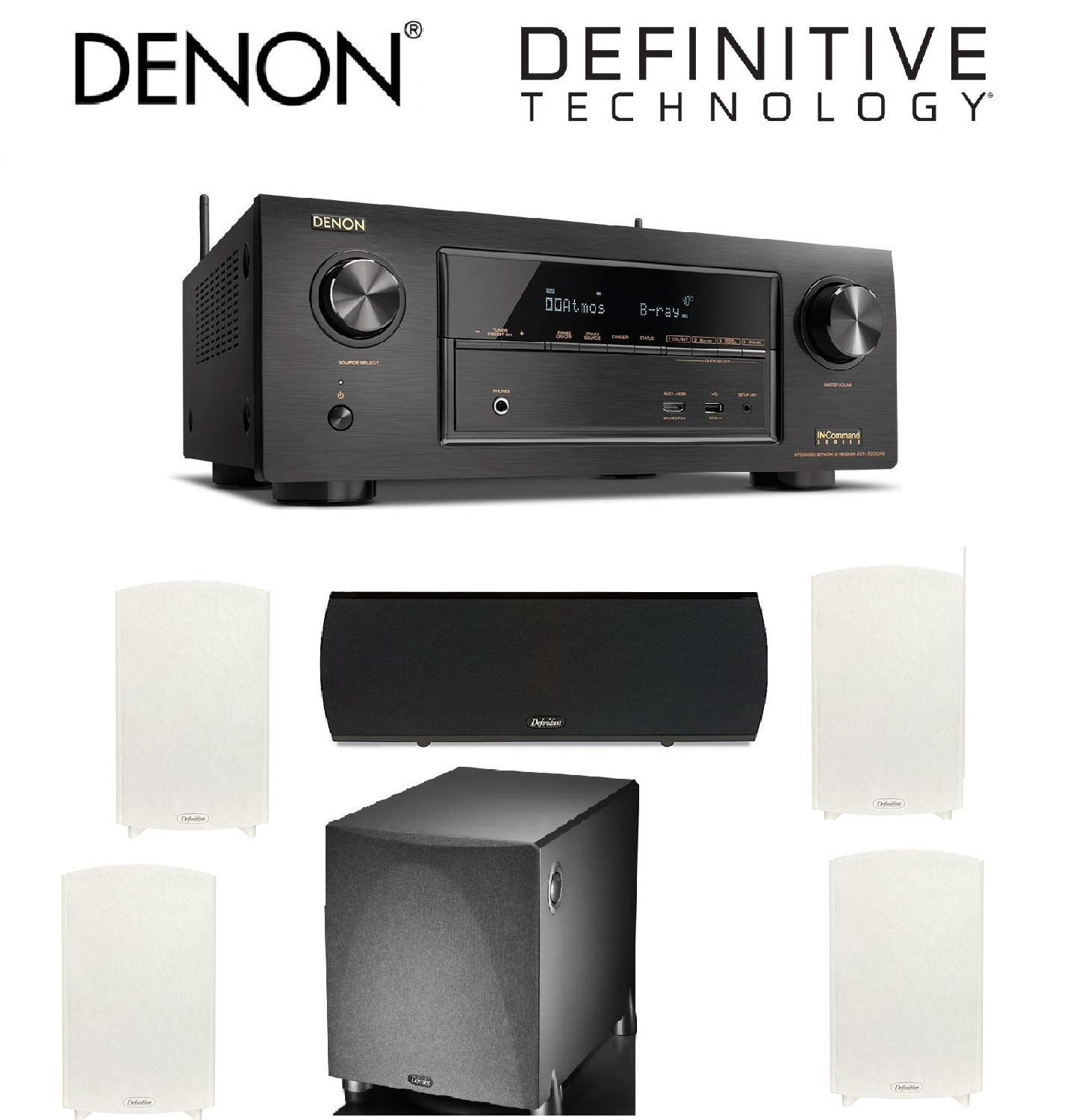 Denon AVR-X3300W 7.2 Channel Full 4K Ultra HD A V Receiver with Built-In Wi-Fi and Bluetooth + 2 Pairs of Definitive... by Denon