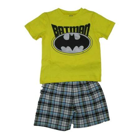Comic Con Outfits (DC Comics Little Boys Yellow Batman Logo Print 2 Pc Shorts)