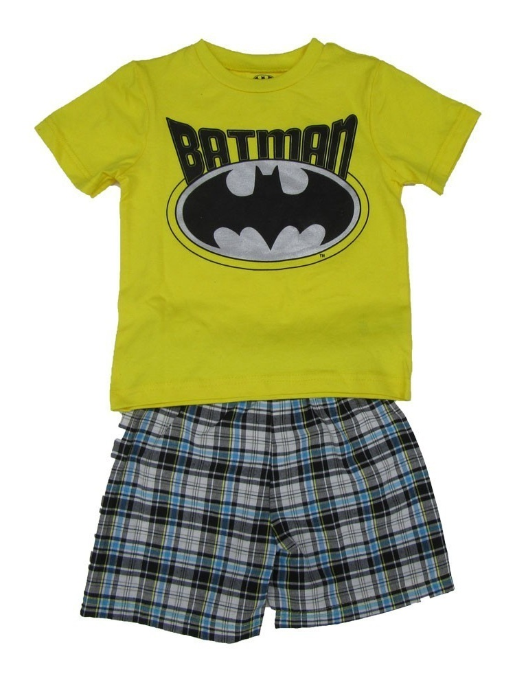 DC Comics Little Boys Yellow Batman Logo Print 2 Pc Shorts Outfit