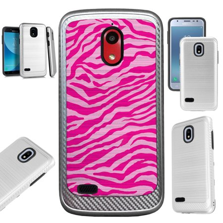 For AT&T Axia (2018) Case Brushed Metal Texture Hybrid TPU Artillery Phone Cover (Light Pink Zebra