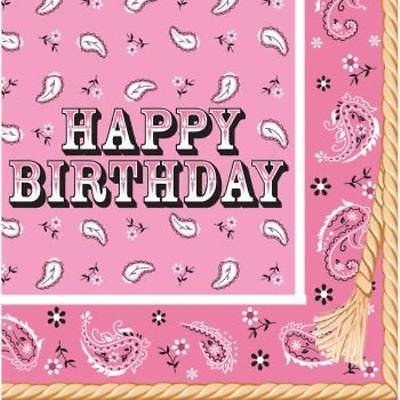Pink Bandana Cowgirl Happy Birthday Lunch Napkins , 4PK