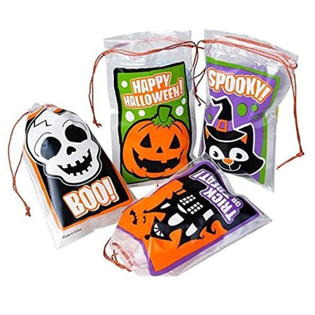 Lot of 24 bags) Trick or Treat Halloween Mini Drawstring Goody bags - Halloween Cello Treat Bags
