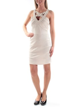 Product Image CRYSTAL DOLLS Womens Beige Cut Out Glitter Sleeveless V Neck  Above The Knee Sheath Party Dress da0a9b070