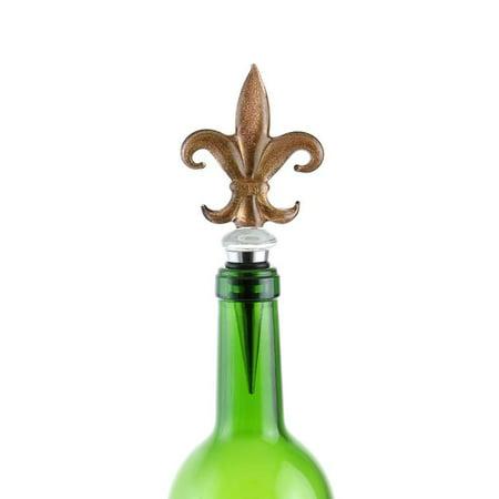 (D) Wine Bottle Stopper, Gold Fleur De Lis, Bar Counter