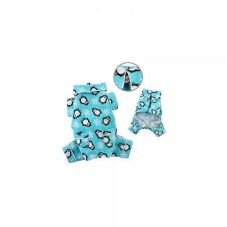Adorable Penguins & Snowflake Flannel Pajamas (Turquoise) - - Penguin Flannel