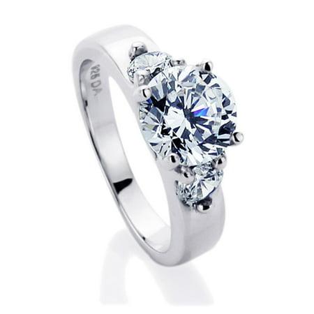 Ladies Zirconia Stones - Men Women Sterling Silver 2ct Round CZ Three Stone Wedding Anniversary Ring ( Size 5 to 9 )