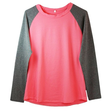 Womens Hot Pink Dark Gray Two Tone Elbow Patch Long Sleeve Raglan (Two Tone Walls Dark On Top Or Bottom)