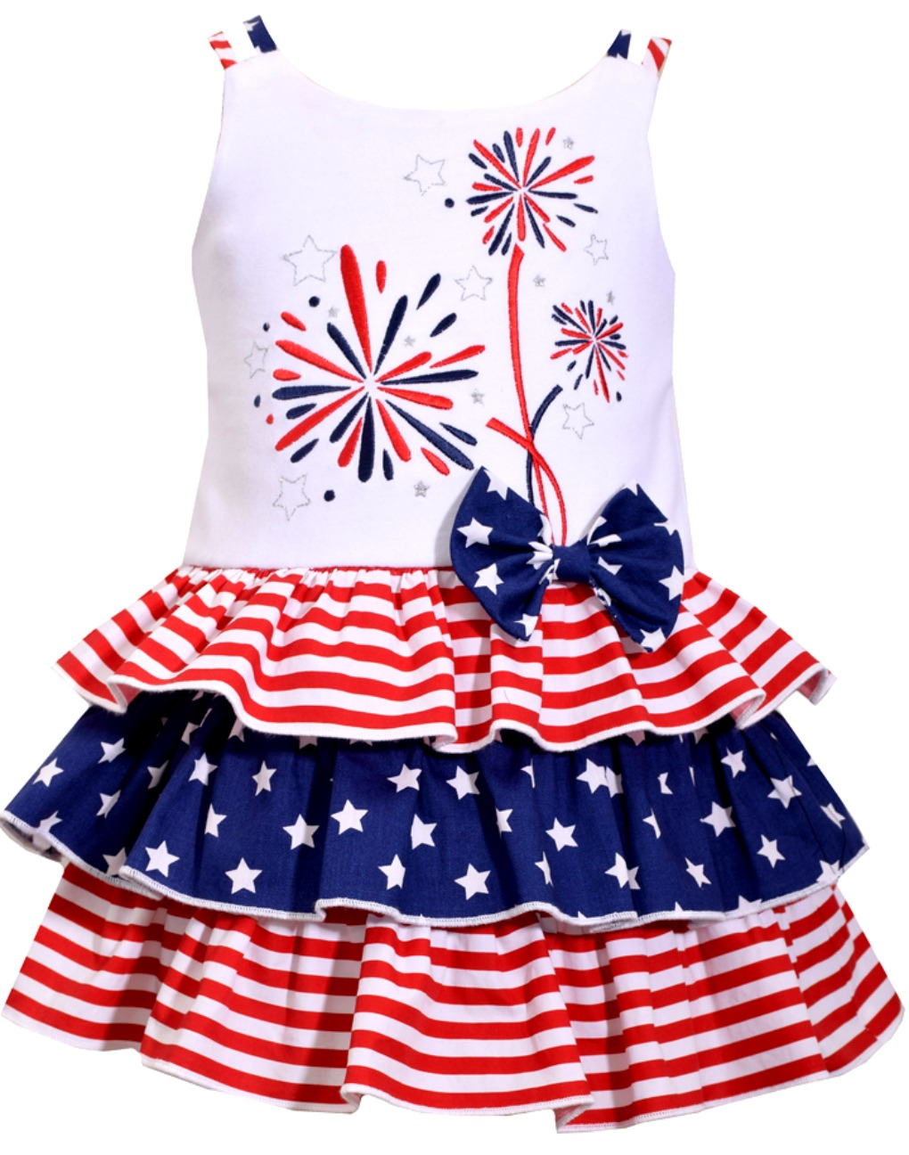 Bonnie Jean NEW dress baby girl 12 24 mos patriotic July 4th red white blue