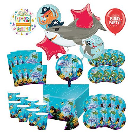 Mayflower Products Under The Sea Birthday Party Supplies 8 Guest Entertainment kit and Pirate Ocean Animals Balloon Bouquet Decorations (Pirate Balloon Bouquet)