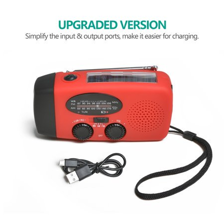 Dynamo Emergency Solar Hand Crank Self Powered AM/FM NOAA Weather Radio LED Flashlight Smart Phone
