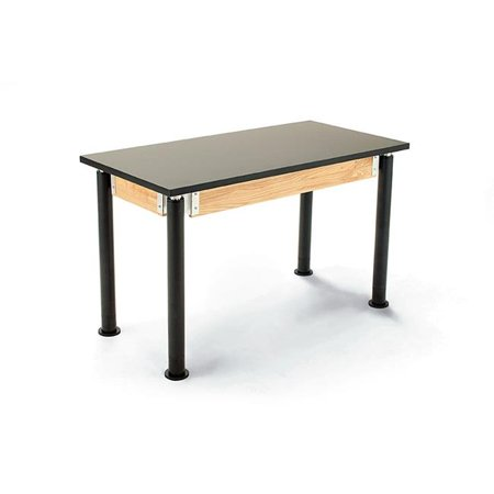 Black Science Table - National Public Seating PSLT2448AH-10 24 x 48 in. Height Adjustable Science Lab Table with Phenolic Top, Black Legs