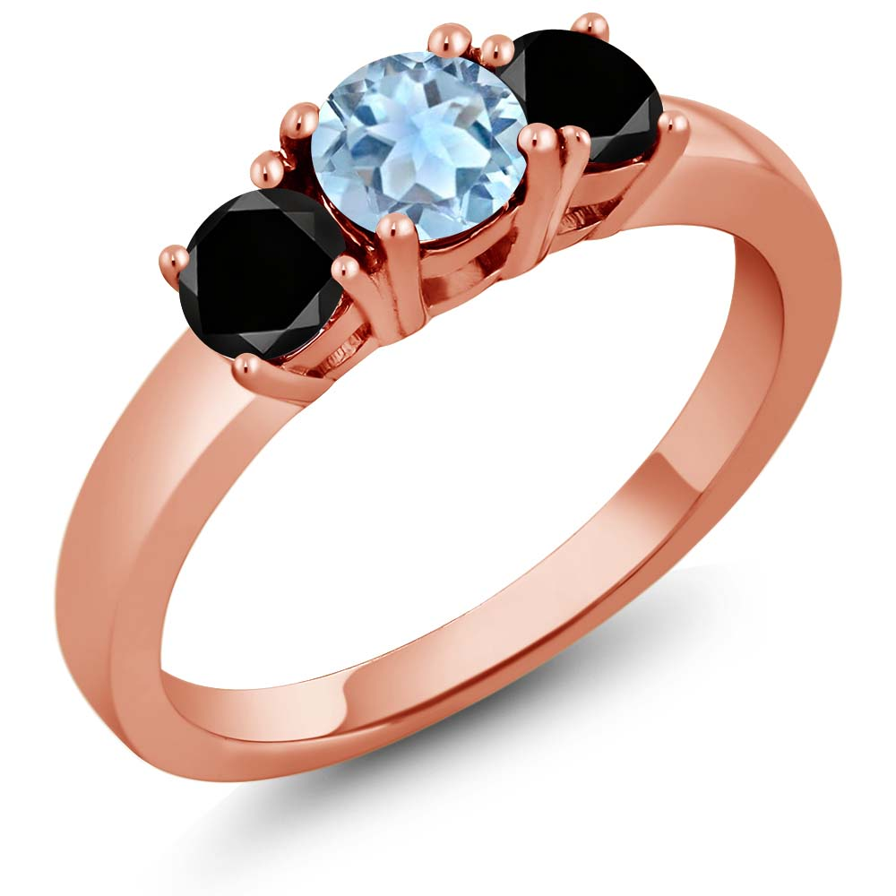 1.24 Ct Round Sky Blue Topaz Black Diamond 925 Rose Gold Plated Silver Ring