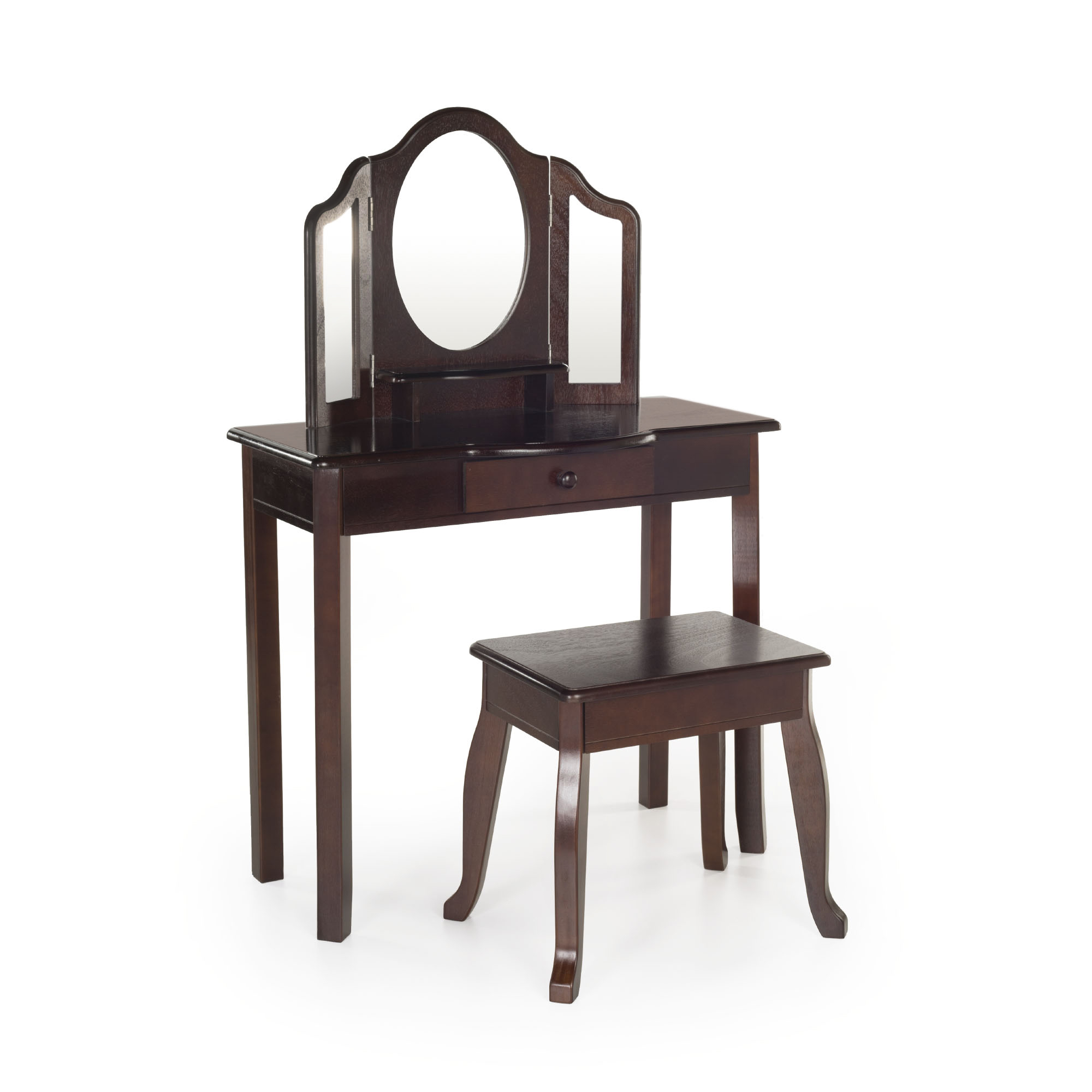 Classic Vanity and Stool - Espresso