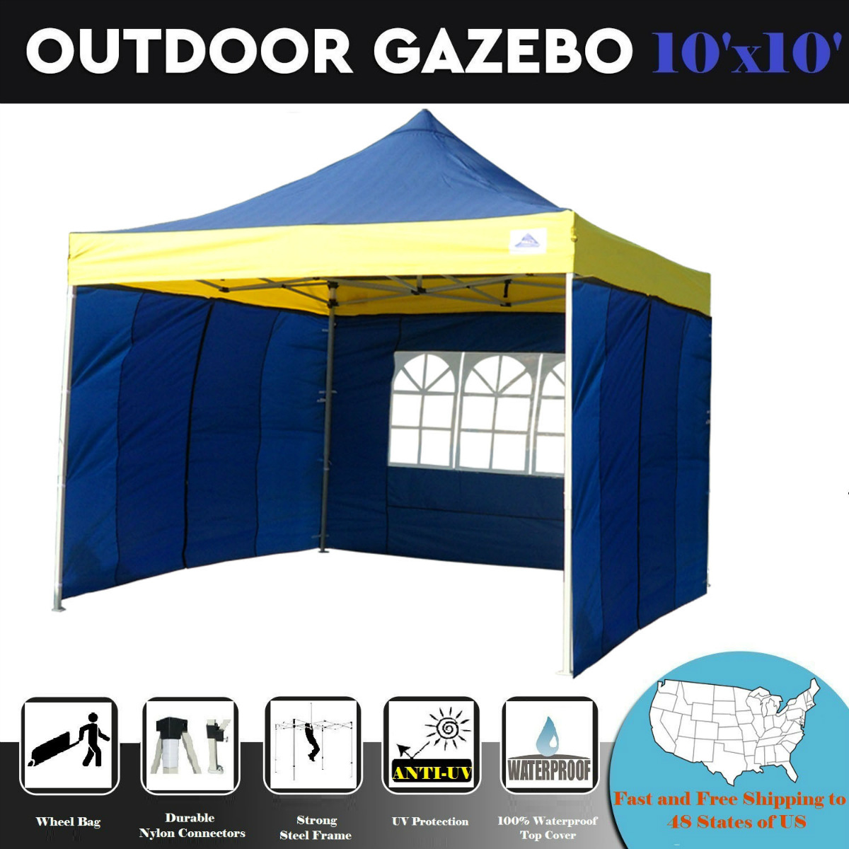 10'x10' Pop Up 4 Wall Party Tent Canopy Gazebo Ez Black Checker - F Model Upgraded Frame By DELTA Canopies