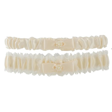 Vintage Lace Wedding Garter in Ivory, Ruched satin design By Cathy's Concepts ()