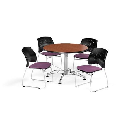 Ofm Pkg Brk 168 0013 Breakroom Package Featuring 42 In  Round Multi Purpose Table With Four Stars Stack Chairs