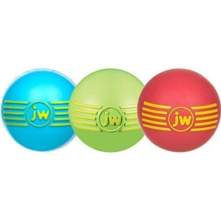 JW Pet Company iSqueak Ball Rubber Dog Toy, Small, Colors Vary (3 Pack)