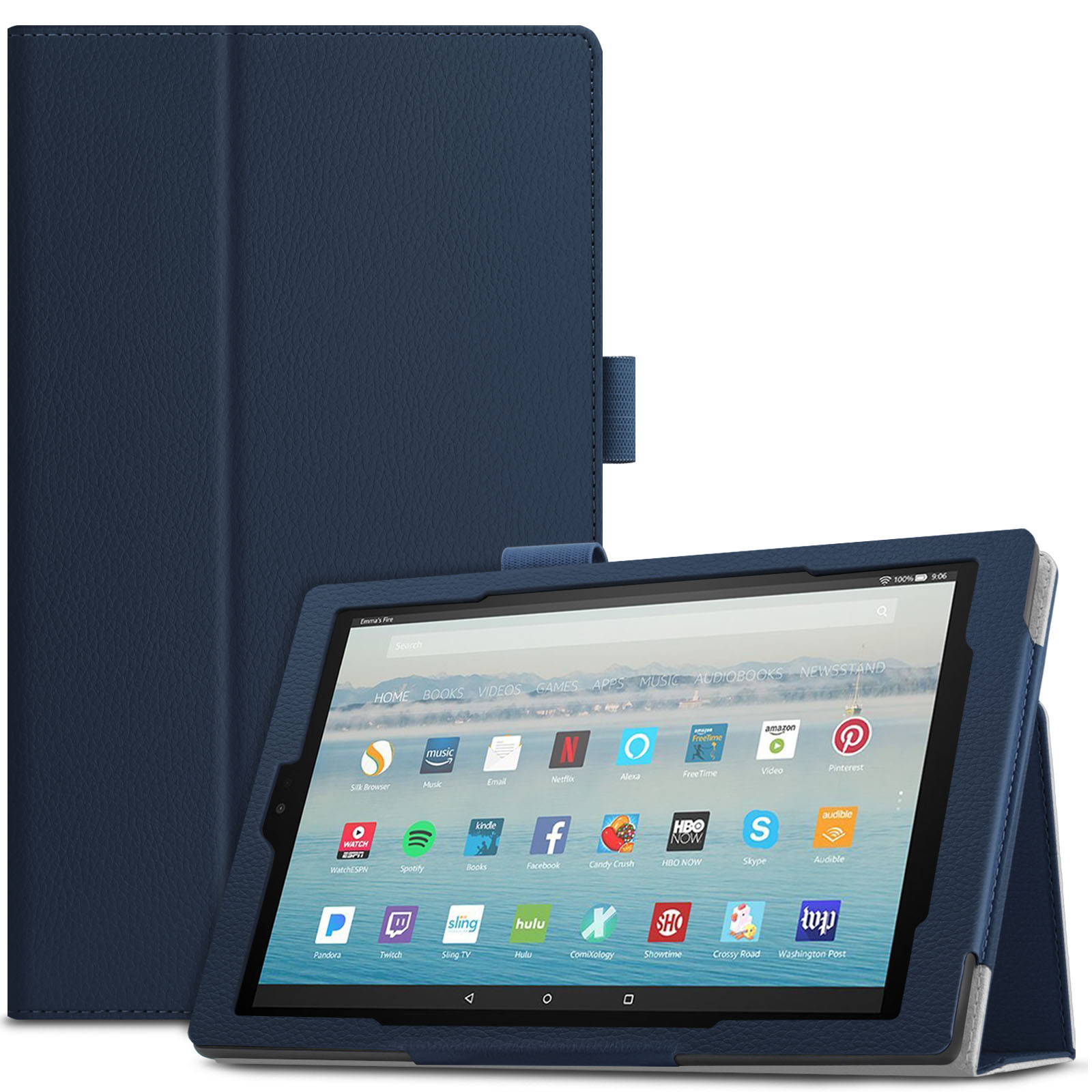 Infiland Folio Smart Case Cover with Auto Sleep/ Wake for All-New Amazon Fire HD 10 (7th Generation, 2017 Release ) Tablet, Navy
