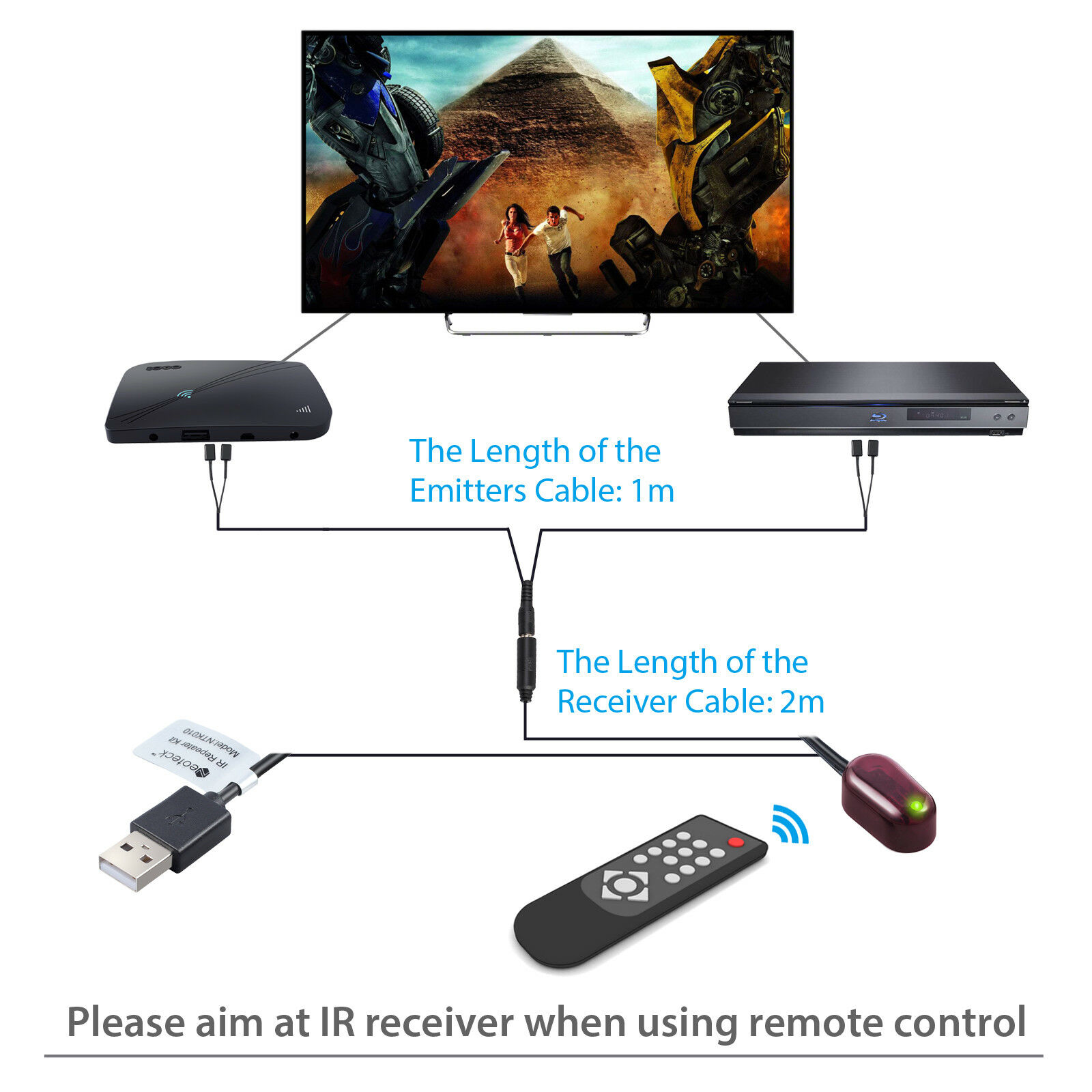 USB Adapter for Amplifier Cable Box Stereo Receiver Satellite Neoteck IR Repeater Infrared Remote 1 Receiver 4 Emitters Control Kit Hidden IR System
