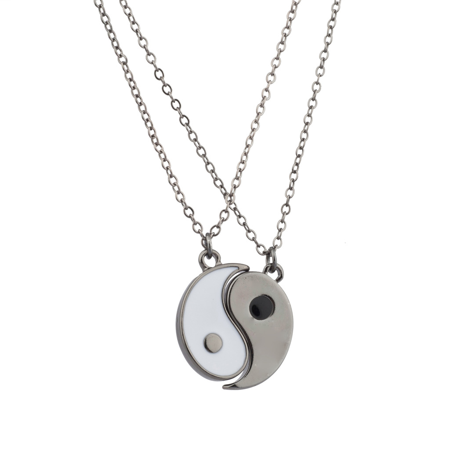 Lux Accessories Gunmetal & White Yin Yang Peace One With All BFF Best Friends