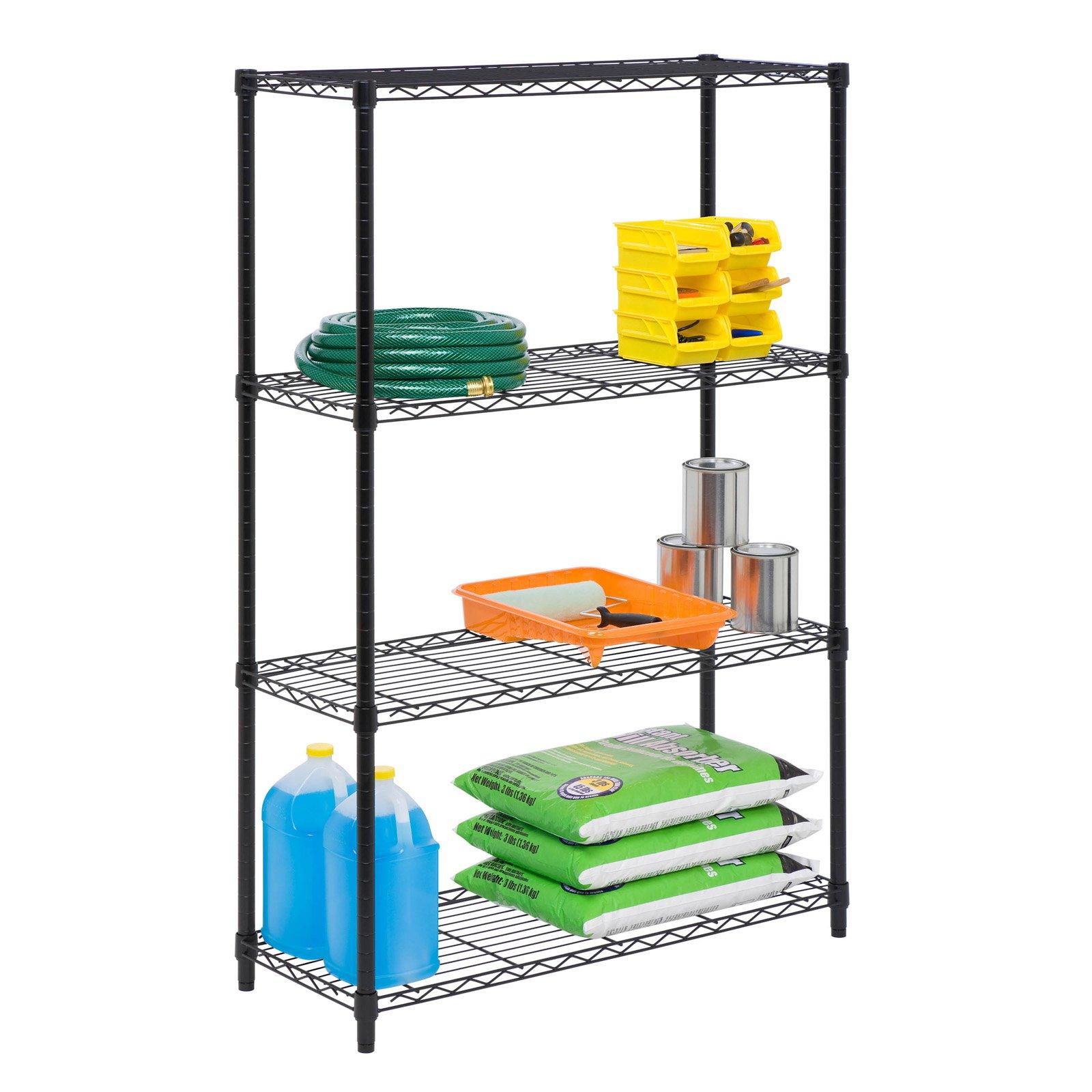 Honey Can Do 4-Shelf Steel Storage Shelving Unit, Black
