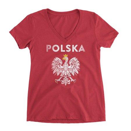 Nyc Factory Poland Polska Eagle Tee Ladies V-Neck Tee poland-polska-eagle-v-nec