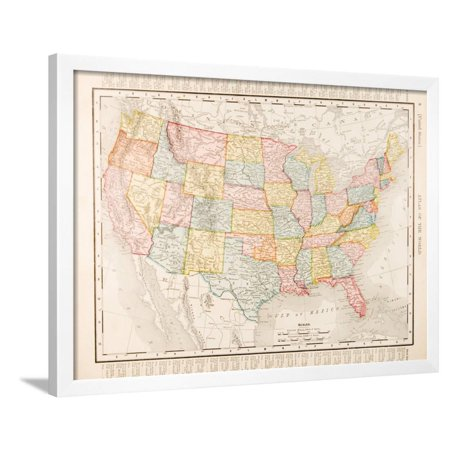 Antique Vintage Color Map United States of America, USA Pastel ... on