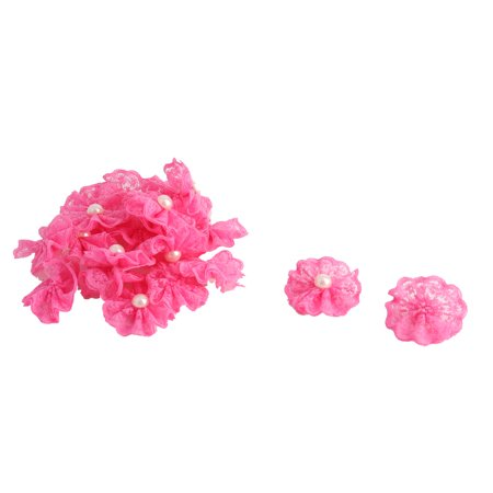 Home Party Decor Lace Faux Pearl Inlaid Handcraft DIY Flowers Fuchsia 20 - Japanese Faux Pearl