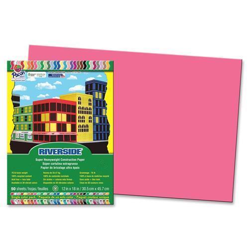 "Pacon 103581 Riverside Groundwood Construction Paper - 12"" x 18"" - Raspberry"