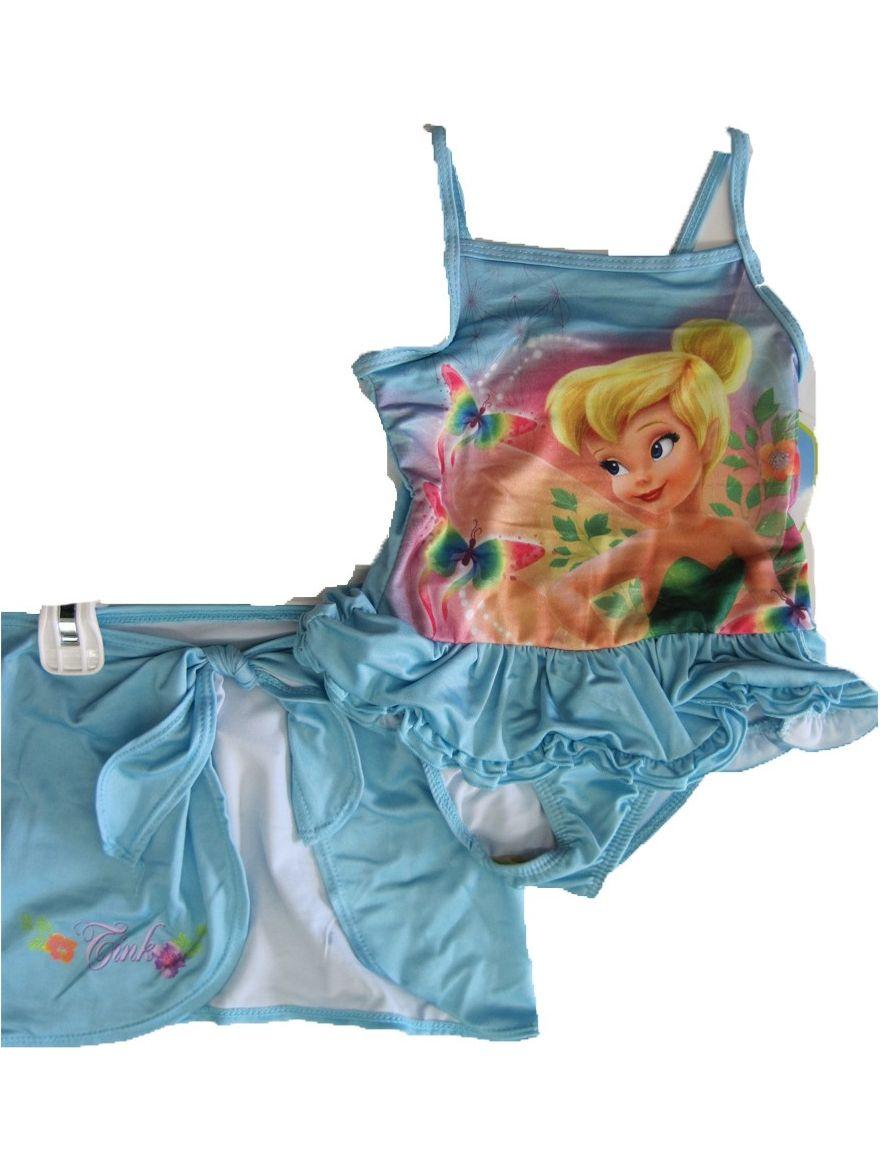 Little Girls Sky Blue Tinker Bell Print Skirt 2 Pc Swimsuit 2T-4T