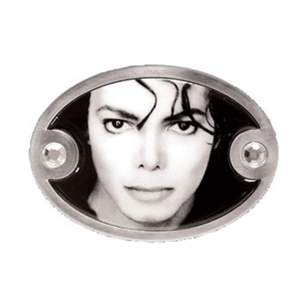 Michael Jackson Men's Black And White Photo Belt Buckle Silver