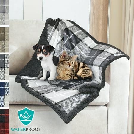 PetAmi WATERPROOF Pet Blanket for Dogs | Soft Sherpa Fleece Throw for Medium Dog Small Puppy Cat | Dog Blanket for Sofa and Pet Bed Cover | Thick Durable 30 x 40 Inches