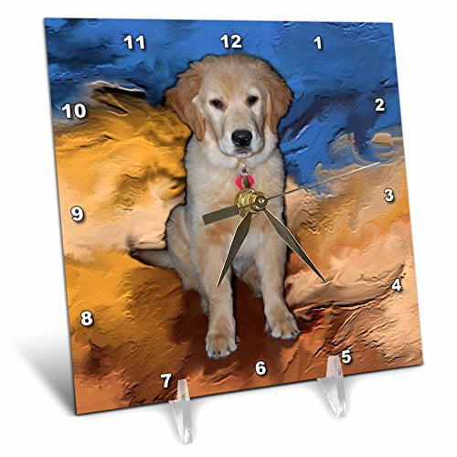 3dRose Golden Retriever Puppy, Desk Clock, 6 by 6-inch by 3dRose