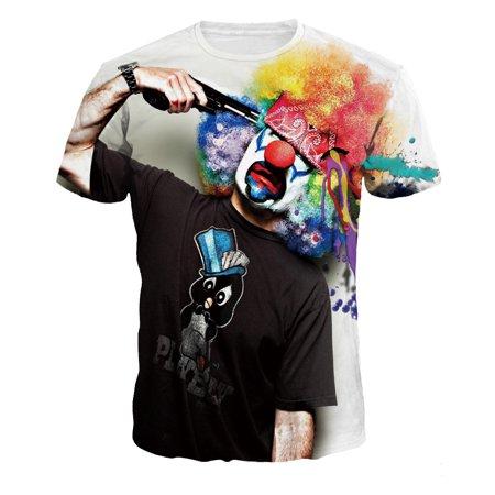 New Clown 3D Printing Men's T-Shirts Summer Fashion Short Sleeve Lover T-Shirt