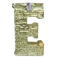 APINATA4U Large Letter E Pinata Gold Color