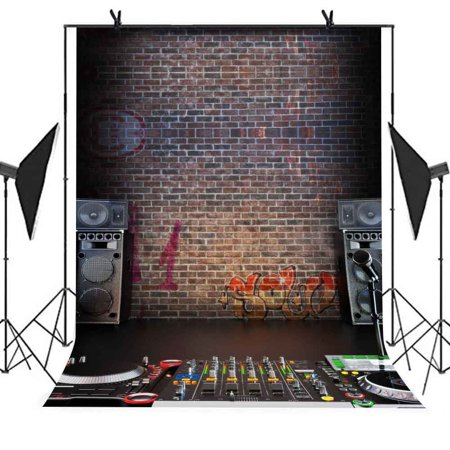 GreenDecor Polyster Backdrop 5x7ft Music Recording Studio Graffiti Brick Wall Photo Video Studio Photography
