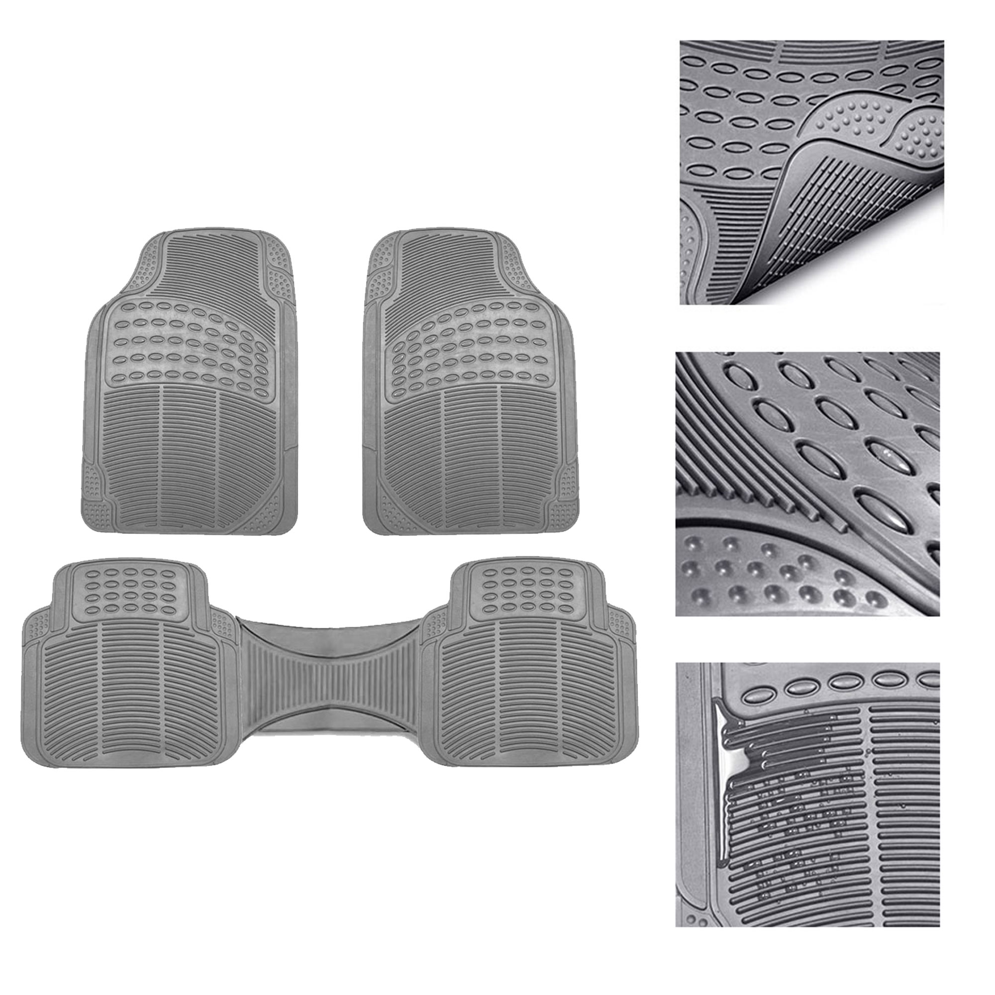 FH Group Rubber Floor Mats All Weather Tirmmable Floor Mats Full Set with Free Gift, 3 Colors