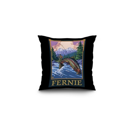 Fernie, Canada - Angler Fly Fishing Scene (Leaping Trout) - Lantern Press Original Poster (16x16 Spun Polyester Pillow, Black (Best Fly Fishing In Canada)
